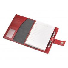 Кожаный ежедневник А5 с кольцевым механизмом красного цвета