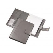 Кожаный ежедневник А5 с кольцевым механизмом серый