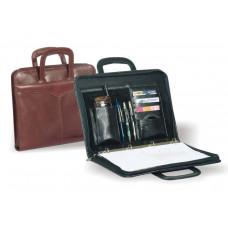 Кожаная папка-портфель для документов формата А4 на молнии с выдвижными ручками