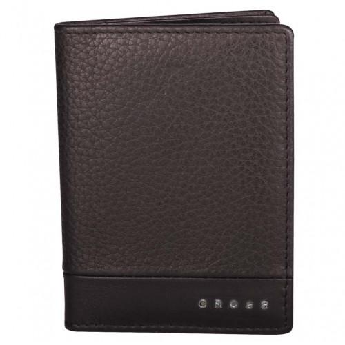 Обложка для кредитных карт, Cross Nueva FV, кожа наппа, фактурная, коричневый, 11 х 1 х 9 см
