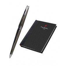 Набор: записная книжка + шариковая ручка. Ручка шариковая, латунь с гравировкой, хром