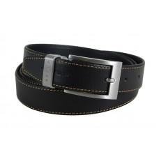Ремень Cross Pamplona Black, односторонний, кожа гладкая, цвет чёрный с бежевой строчкой, 126 х 3 см