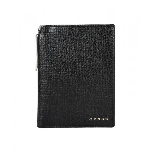 Бумажник для документов Cross RTC Black, с ручкой Cross, кожа наппа, тисненая, черный