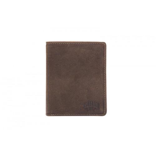 Бумажник KLONDIKE «Eric», натуральная кожа в темно-коричневом цвете, 10 х 12 см