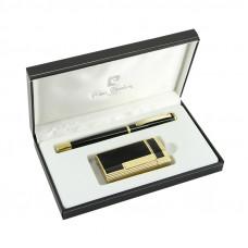 """Набор """"Pierre Cardin"""": Ручка-роллер + зажигалка для сигар, газовая турбо, золотой/черный лак"""