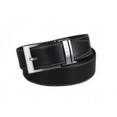 Ремень Cross Pamplona Black, односторонний, кожа гладкая, цвет чёрный с бежевой строчкой, 126 х 3,5