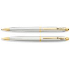 Набор FranklinCovey Lexington: шариковая ручка и карандаш 0.9мм. Цвет - хромовый с золотистой отделк