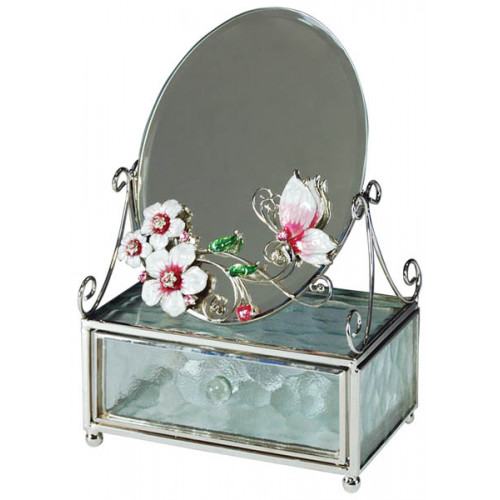 "Зеркало со шкатулкой  Jardin D'Ete  ""Розовая глазурь"", сталь, стекло, 13 х 6 х 20 см"