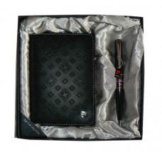 Набор: Обложка для паспорта и ручка. Ручка шариковая, латунь+лак, акрил, хром. Цвет черный.
