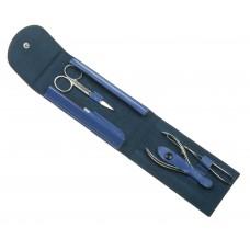 Маникюрный набор GD, 4 пр. Футляр: натур.кожа, цвет сине-бирюзовый