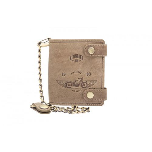 Бумажник KLONDIKE «Tim Bike», натуральная кожа в коричневом цвете, 10,5 х 12,5 х 2,5 см