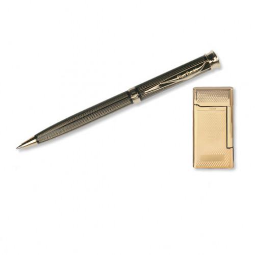 """Набор """"Pierre Cardin"""": шариковая ручка + газовая кремниевая зажигалка, позолота."""