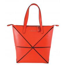 Сумка наплечная женская, Cross Origami, кожа наппа гладкая+ткань, цвет красный, 31 х 26,3 х 10 см