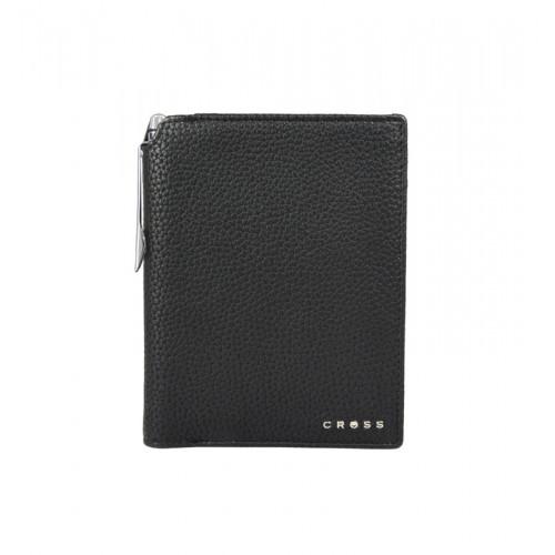 Бумажник для документов Cross Nueva Management Black, с ручкой Cross, кожа наппа, фактурная, черный