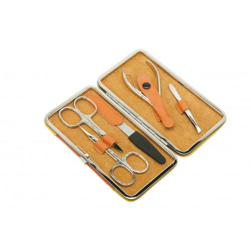 Маникюрный набор Dewal, 5 пр. Чехол: натур.кожа, цвет желто-оранжевый