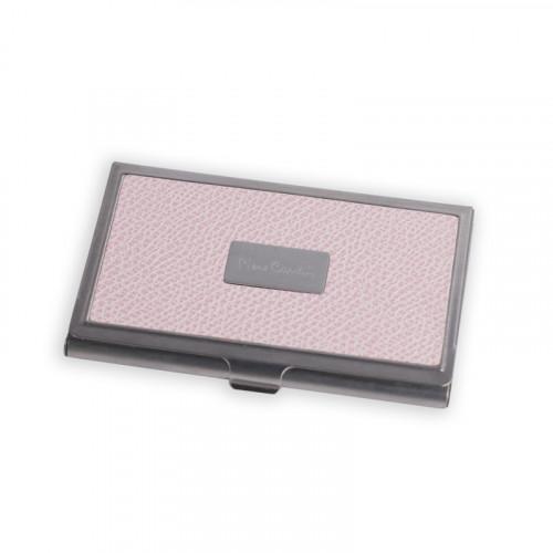 Визитница Pierre Cardin. Корпус - металл, иск.кожа. Размер 9,3 х 6,0 х 0,8 см. Цвет - розовый.
