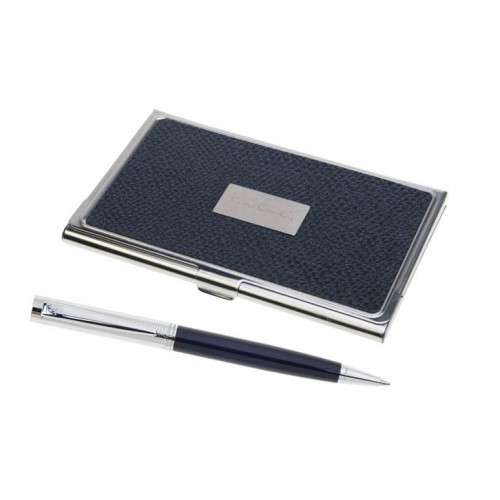 Набор Pierre Cardin: ручка шариковая + визитница. Корпус-латунь, лак, отделка и детали дизайна -хром