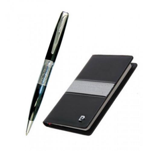 Набор: записная книжка + шариковая ручка, ручка шариковая, латунь, лак, хром. Блокнот бумажный