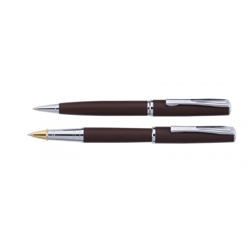 Набор  Pierre Cardin PEN&PEN: ручка шариковая + роллер. Цвет - коричневый матовый. Упаковка Е.