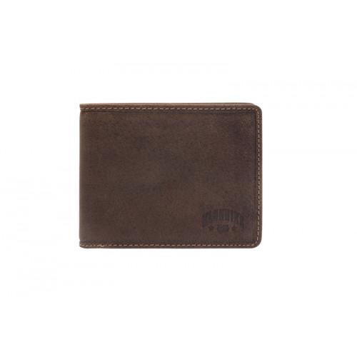 Бумажник KLONDIKE «John», натуральная кожа в темно-коричневом цвете, 11,5 х 9 см