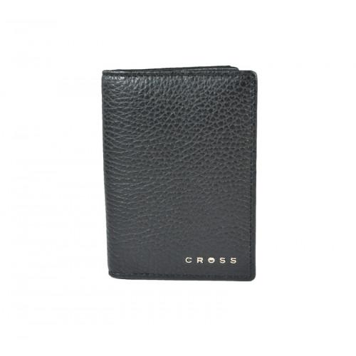 Визитница Cross Hudson Black, кожа наппа, фактурная, чёрный, 10,5 х 7,5 х 2 см