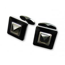 """Запонки """"Caseti"""", сталь с темным хром.покрытием, камень кварцит, 1,5 x 1,5 x 1,9 см"""
