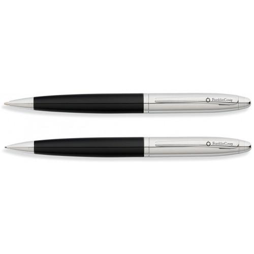 Набор FranklinCovey Lexington: шариковая ручка и карандаш 0.9мм. Цвет - черный + хромовый.