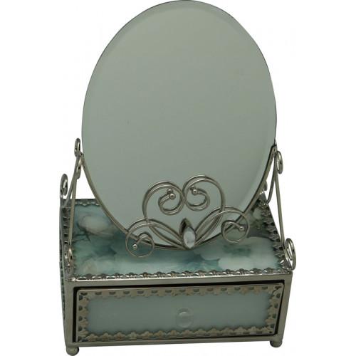 "Зеркало со шкатулкой Jardin D'Ete ""Акварель"", cталь, стекло, 13 х 21 х 8 см, зелёный, чёрный бархат"