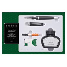 Набор Cross Bailey: перьевая ручка, конвертер, 3 картриджа, флакон чернил. Цвет - матовый черный