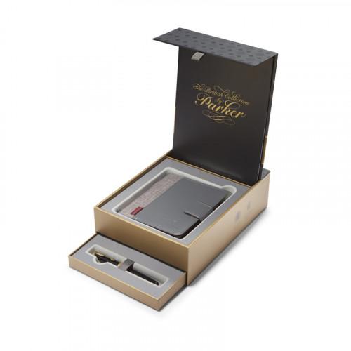 Подарочный набор Parker: Перьевая ручка Parker Sonnet Laque Black GT c блокнотом и органайзером