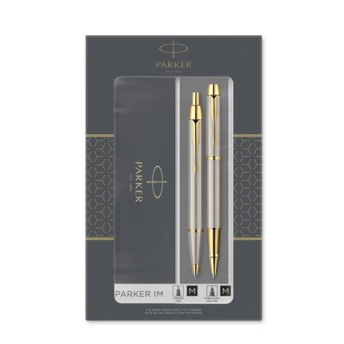 Подарочный набор Parker: IM Core Brushed Metal GT - ручки роллерная и шариковая