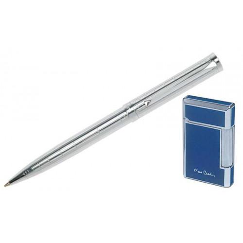 """Набор """"Pierre Cardin"""": шариковая ручка + газовая кремневая зажигалка, хром/синий лак."""