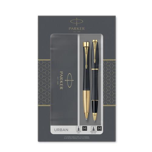 Подарочный набор Parker: Urban Core Muted Black GT - ручки роллерная и шариковая