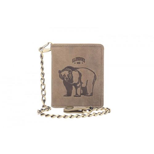 Бумажник KLONDIKE «Wayne Bear», натуральная кожа в коричневом цвете, 10,5 х 12,5 см