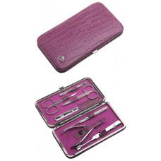 Маникюрный набор GD, 7пр. Футляр: натур.кожа, цвет розовый