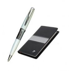 Набор: записная книжка + шариковая ручка. Ручка шариковая, латунь, лак, хром. Блокнот бумажный