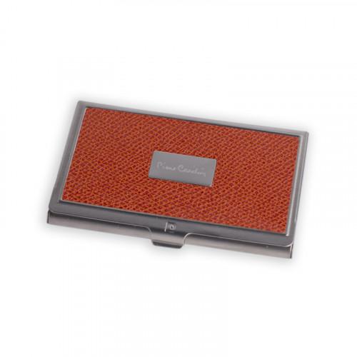 Визитница Pierre Cardin. Корпус - металл, иск.кожа. Размер 9,3 х 6,0 х 0,8 см. Цвет - оранжевый.