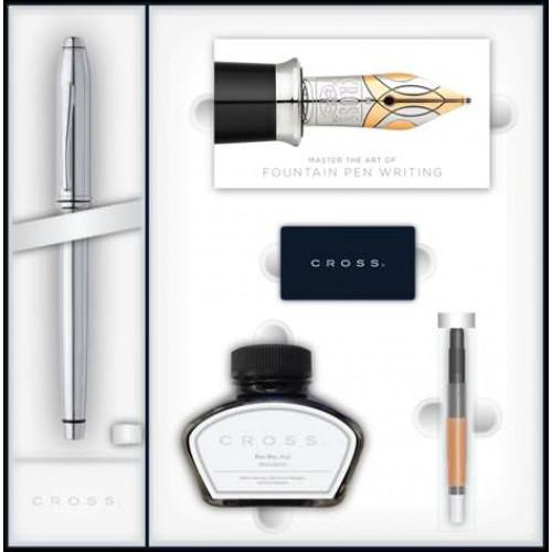 Набор Cross Townsend: перьевая ручка, конвертер, 3 картриджа, флакон с черными чернилами.