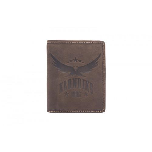 Бумажник KLONDIKE «Don», натуральная кожа в темно-коричневом цвете, 9,5 х 12 см