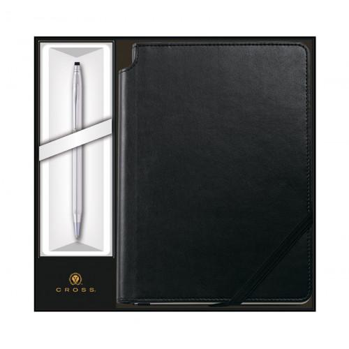 Набор: Шариковая ручка Cross Classic Century Chrome и Записная книжка Cross Journal Classic Black,A5