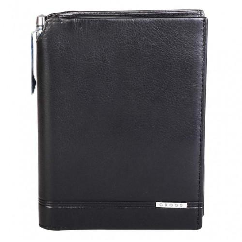Кошелёк с отделением для паспорта+ручка Classic Century, кожа наппа, гладкая, чёрный,14 х 11 х 1см