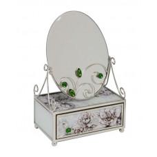 """Зеркало со шкатулкой Jardin D'Ete  """"Благородный изумруд"""", сталь, стекло, 13 х 8 х 21 см"""