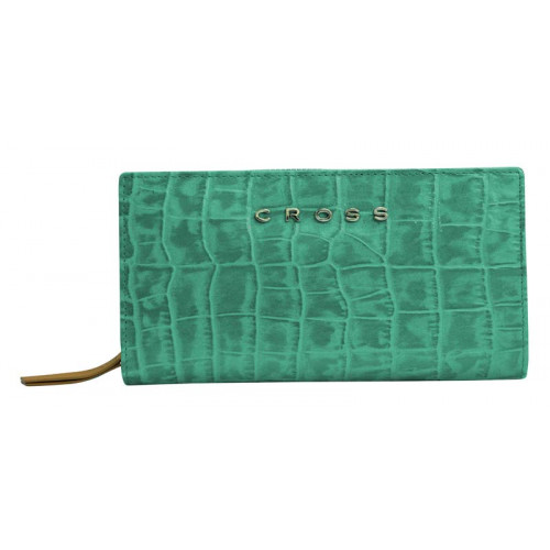 Клатч-кошелёк Cross Bebe Coco, кожа наппа фактурная, цвет зелёный/рыжий, 18 х 10 х 3 см