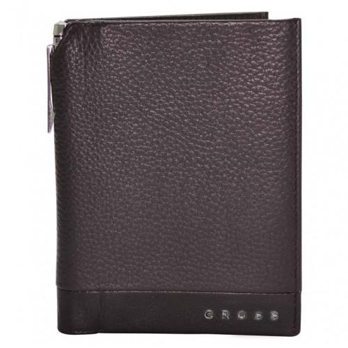 Обложка для документов, Cross Nueva FV с ручкой, кожа наппа, фактурная, коричневый, 14 х 11 х 1 см