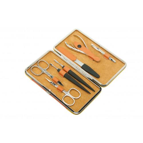 Маникюрный набор Dewal, 7 пр. Чехол: натур.кожа, цвет желто-оранжевый