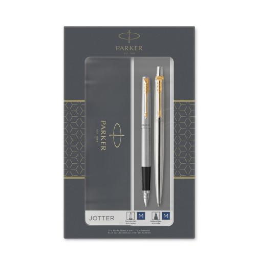 Подарочный набор Parker: Jotter Core Stainless Steel GT - ручки перьевая и шариковая