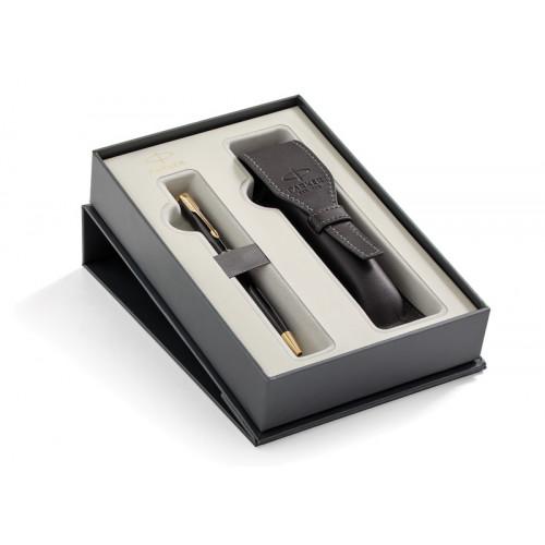 Подарочный набор Parker: Шариковая ручка Parker Sonnet Black Lacquer GT + чехол из экокожи