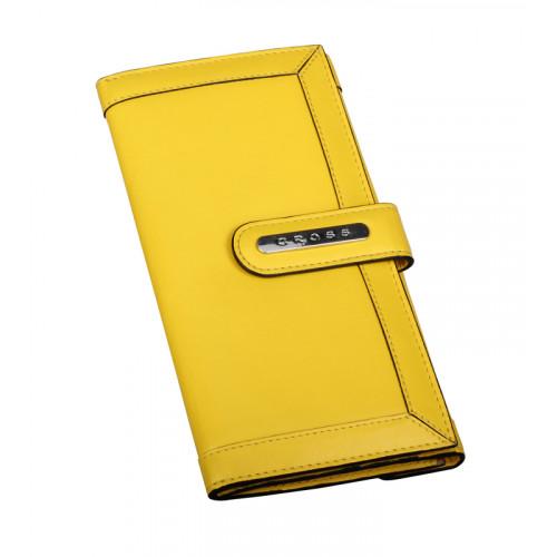 Клатч-кошелёк Cross. Кожа наппа, гладкая, желтый, 20 х 11 х 1,5 см