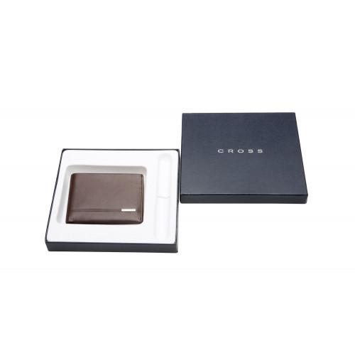Портмоне Cross Classic Century, кожа наппа, фактурная, цвет - коричневый. 11x8.5x1.5 см