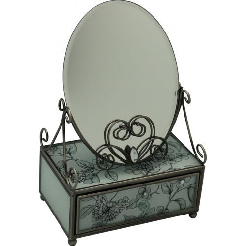 "Зеркало со шкатулкой Jardin D'Ete ""Эскиз"", cталь, стекло,13 х 21 х 8 см, белый/чёрный, чёрный бархат"